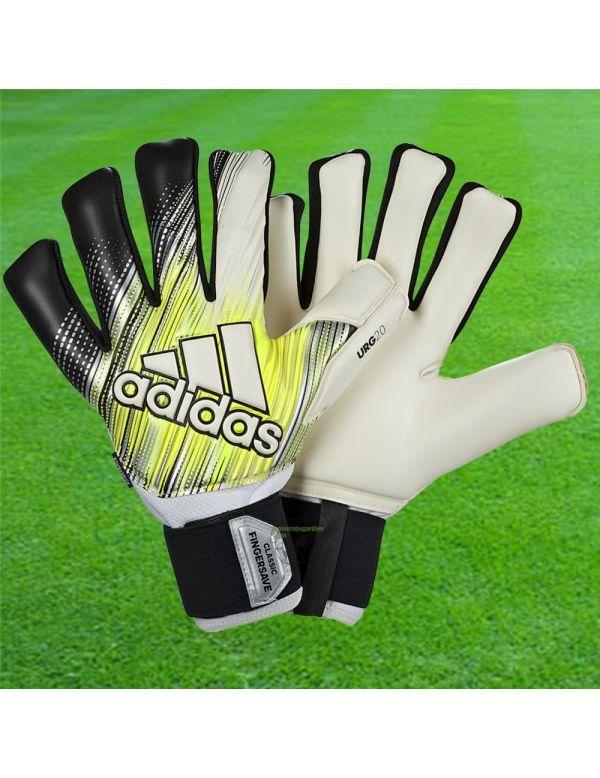 ADIDAS - Classic Pro Fingersave Blanc Jaune DY2621 / 182 Gants avec Barrettes protection match boutique en ligne Gardien de but