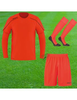 Boutique pour gardiens de but Kit Gardien (maillot  short)  Uhlsport - Pack Stream 22 Maillot + Short +Chaussettes Orange Fluo