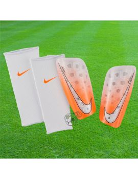 Boutique pour gardiens de but Protège tibias  Nike - Protège tibias Mercurial lite Blanc Orange SP2120-103 / 31